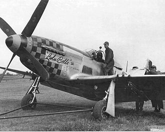 """RAF Raydon - P-51D-15-NA Mustang 44-15092 """"Lulu Belle II"""" 352d FS 353rd FG 1944 RAF Station Raydon, England being recovered after a landing accident while being flown by Lt Everett B Bowron.  It was originally named """"Alabama Rammer Jammer"""" and assigned to Lt Arthur C Cundy (KIA 11 March 1945)."""
