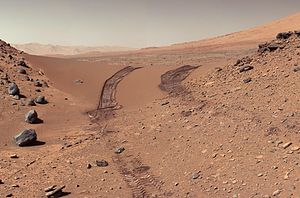 Martian soil - Image: PIA17944 Mars Curiosity Rover After Crossing Dingo Gap Sanddune 20140209