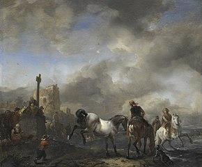 Horsepond near a boundary stone