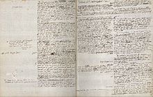 Brouillon autographe. Les pages sont partagées en deux colonnes: à droite le texte, à gauche les ajouts.