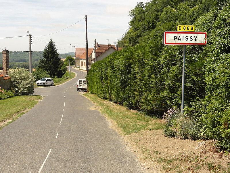 Paissy (Aisne) city limit sign