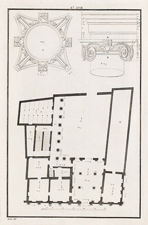 Palazzo Barbaran da Porto - Floor plan and relief of an Ionic capital (drawing by Ottavio Bertotti Scamozzi, 1776)