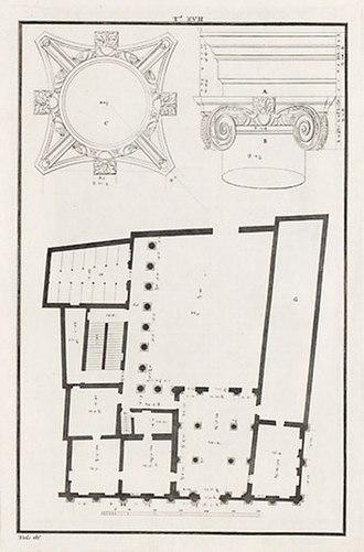 Palazzo Barbaran da Porto - Floor plan and relief of an Ionic capital (drawing by Ottavio Bertotti Scamozzi, 1776)