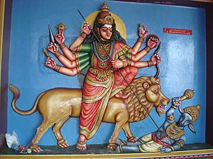 Munneswaram temple - Panel View within the Munneswaram temple, depicting goddess Durga.