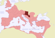 The Roman empire in red with a land in darker red; water is in pale blue, and non-Roman land in grey