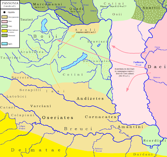 Anartes - Peoples of Pannonia. The territory of the Anartes is visible in the top right corner.