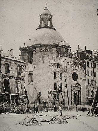 Temple du Marais - The church showing significant damage to the facade received during the Paris Commune