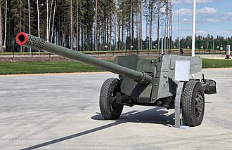 Anti-tank gun - Postwar Soviet MT-12 100mm anti-tank gun.