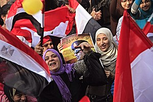 Egyptian presidential election, 2014 - Participants holding flags and pictures of Abdel-Fatah el-Sisi