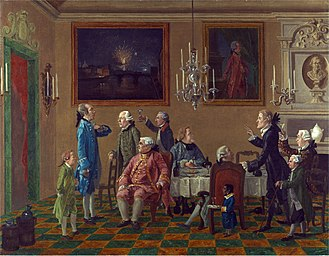 Sir Horace Mann, 1st Baronet - British Gentlemen at Sir Thomas Mann's's Home in Florence (circa 1765), including John Tylney, 2nd Earl Tylney, by Thomas Patch