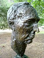 Bust of Paul Keating by political cartoonist, caricaturist and sculptor Peter Nicholson located in the Prime Minister's Avenue in the Ballarat Botanical Gardens