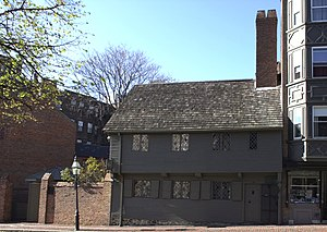 Jettying - Paul Revere House Boston, MA built 1680. This is framed on a few cantilevered beams.
