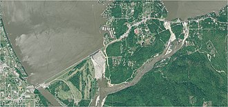Grand Lake o' the Cherokees - Aerial View of Pensacola Dam and Grand Lake