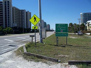 Orange Beach, Alabama - Alabama Welcome sign on the Alabama-Florida border in Orange Beach
