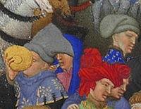 Personnages de la scène de Janvier (Frères Limbourg?) - Très Riches Heures du duc de Berry (f.1).jpg