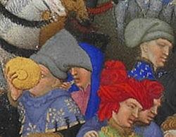 Personnages de la scène de Janvier (Frères Limbourg ?) - Très Riches Heures du duc de Berry (f.1).jpg