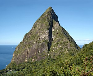English: Petit Piton, St. Lucia, seen from the...