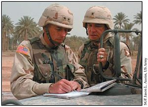 Benjamin Freakley - Image: Petraeus and Freakley in Iraq 2003