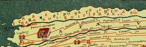 "Brittenburg - Map of Brittenburg (as ""Lugduno"") in the Tabula Peutingeriana."