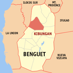 Map of Benguet showing the location of Kibungan