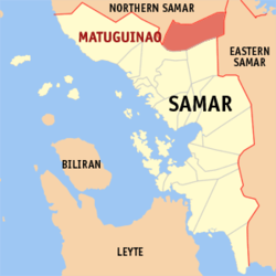 Map of Samar with Matuguinao highlighted