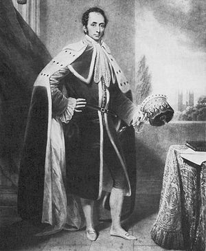 Philip Henry Stanhope, 4th Earl Stanhope - Philip Henry Stanhope, 4th Earl Stanhope, wearing his peerage robes and holding an earl's coronet, portrait circa 1825