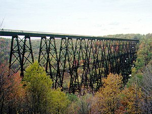View of a railroad bridge crossing a valley during autumn.