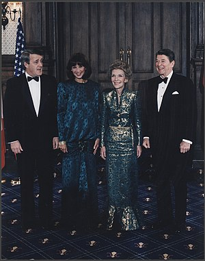"""Shamrock Summit - The Mulroneys and Reagans in Quebec, Canada, March 18, 1985, the day after the two leaders famously sang """"When Irish Eyes are Smiling""""."""