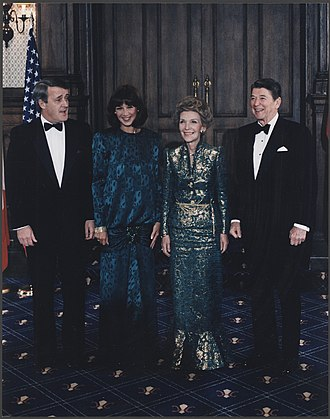 "Brian Mulroney - The Mulroneys with President and Mrs. Reagan in Quebec, Canada, March 18, 1985, the day after the famous ""Shamrock Summit"", when the two leaders sang ""When Irish Eyes are Smiling."""