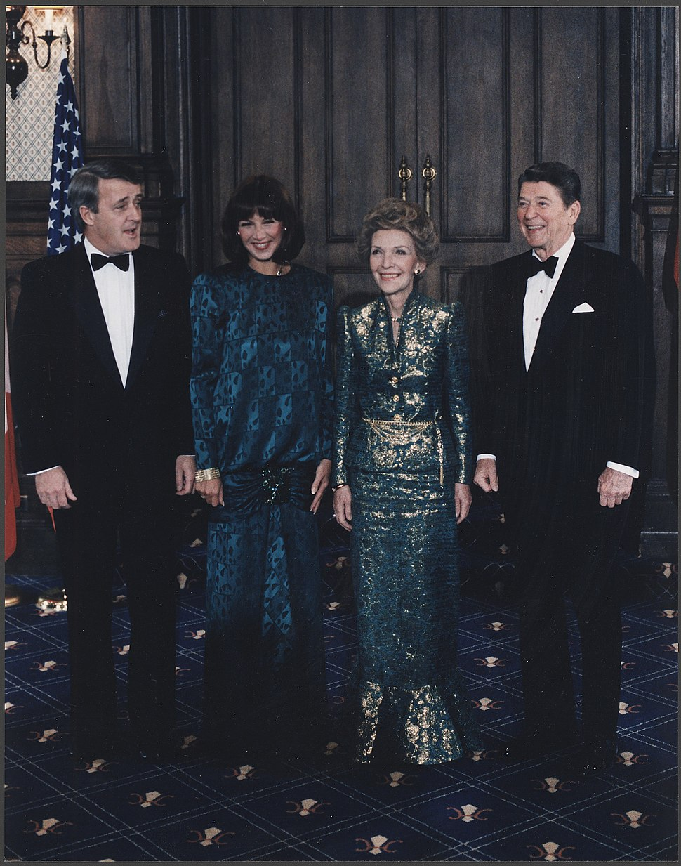 Photograph of The Reagans and Mulroneys in Quebec, Canada - NARA - 198561