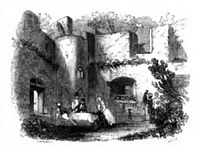 Netley In The 1840s Showing Exterior Facing Sea Left And A Social Gathering On Inside Of Ruins Right