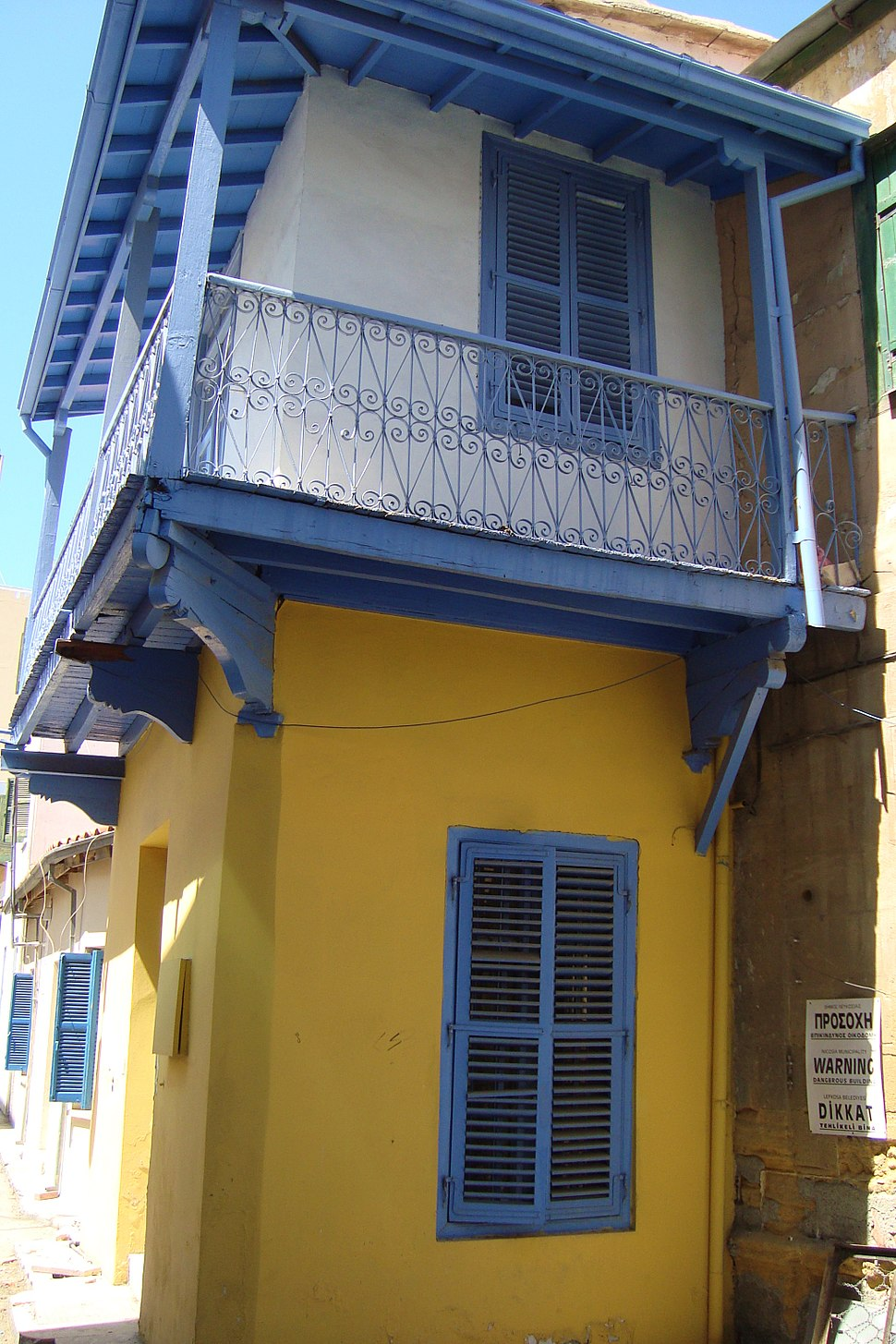 Picturised old traditional houses in Nicosia Republic of Cyprus during summer