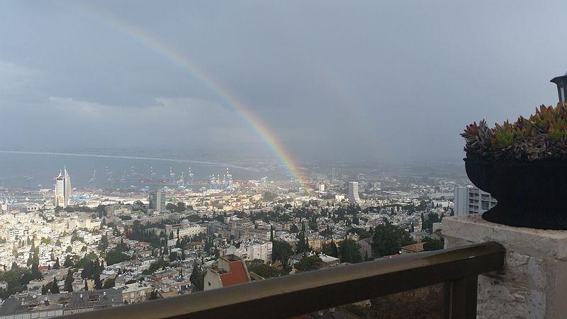 קשת בענן מעל חיפה