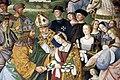 Pinturicchio, liberia piccolomini, 1502-07 circa, Enea Silvio, vescovo di Siena, presenta Eleonora di Portogallo all'imperatore Federico III 09.JPG