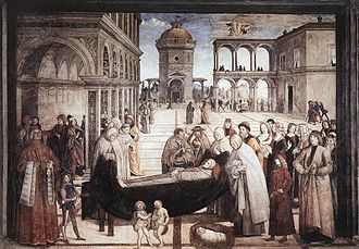 Bufalini Chapel - The Funerals of St. Bernardino. Riccomanno Bufalini is depicted standing on the left, next to St. Bernardino.
