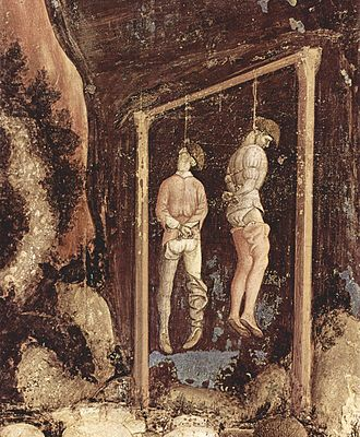Hanging - Detail from a painting by Pisanello, 1436–1438
