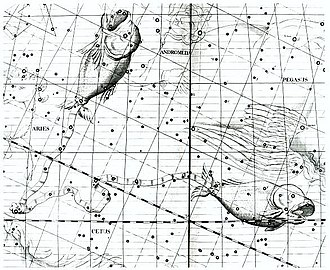 "Pisces (astrology) - ""A cord joins the tails of Pisces, the two fishes,"" from Atlas Coelestis."