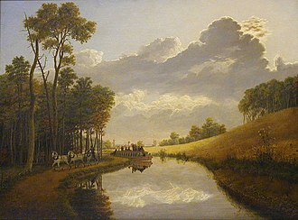 "Pittsford (village), New York - ""A Sultry Calm"" by George Harvey of Great Britain shows a bend in the Erie Canal just west of Pittsford in 1837"