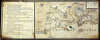 Mahé, Puducherry - Mahé in 1726. Map made after taking possession of the place and the war against the Indian king of the region supported by the British