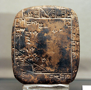 Third Dynasty of Ur - Plan of a real estate of the city of Umma, with indications of the surfaces of the parts. Third Dynasty of Ur, Louvre.