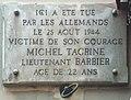 Plaque ici a été tué Michel Tagrine (août 1944) - rue du Faubourg-du-Temple (Paris).jpg