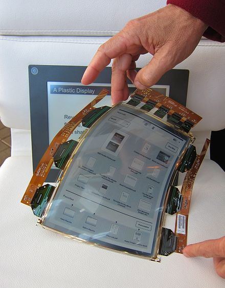 An example of a flexible display, created by Plastic Logic. PlasticLogic flexible display.jpg