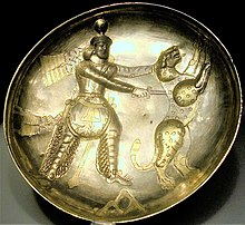 Plate of Shapur III killing a tiger.jpg
