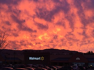 Plymouth, New Hampshire - Sunset over Plymouth Walmart