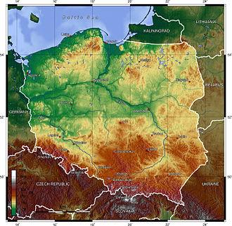 Geography of Poland - Image: Poland topo