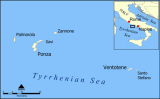 Ponza largest of the Italian Pontine Islands