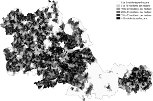 West Midlands (county) - Population density in the 2011 census in the West Midlands.