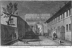 Porta Settimiana - Porta Settimiana, drawing by Giuseppe Vasi (around 1750)