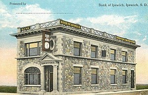 National Register of Historic Places listings in Edmunds County, South Dakota - Image: Postcard Bank Ipswich SD