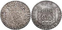 スペインドル(8レアル)、1768年